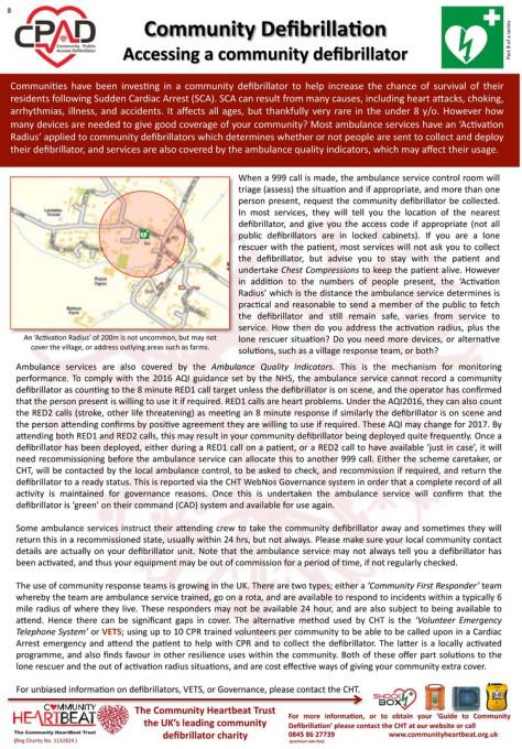 Community Defibrilator information sheet
